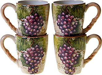 Certified International Sanctuary Wine Mugs (Set of 4), 18 oz, Multicolor