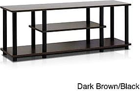 Porch & Den Stuyvesant Open Shelves 3-tier Entertainment TV Stand (square tube - french oak grey/black)