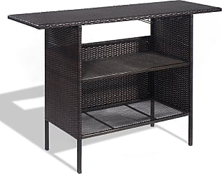 Costway Outdoor Patio Rattan Bar Counter Table