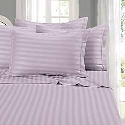Elegant Comfort Wrinkle & Fade Resistant 1500 Thread Count - Damask Stripes Egyptian Quality Luxurious Silky Soft 4pc Sheet Set, Up to 16 Deep Pocket, King, Lilac