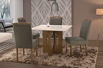 Siena Móveis Conjunto Sala de Jantar em Madeira Maciça Mesa Suécia 4 Cadeiras Priscila Siena Móveis Castanho/Suede 70