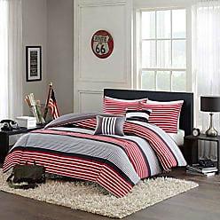 INTELLIGENT DESIGN Paul Full/Queen Comforter Set Teen Boy Bedding - Red Black, Striped - 5 Piece Bed Sets - Ultra Soft Microfiber Bed Comforter