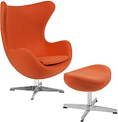 Flash Furniture Orange Wool Fabric Egg Chair with Tilt-Lock Mechanism and Ottoman