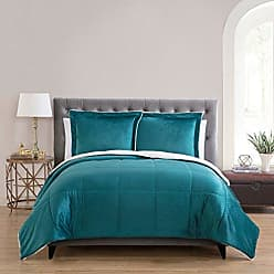 VCNY Home VCNY Home Micro Mink Reversible Sherpa 3 Piece Bedding Comforter Set, Queen, Teal