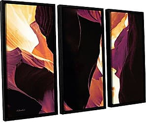 ArtWall 3 Piece Linda Parkers Slot Canyon Light from Above 1 Floater Framed Canvas Artwork, 36 x 54