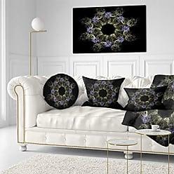 DESIGN ART Designart PT12187-40-20 Glowing Radial Fractal Flower in Purple Floral Canvas Artwork Print, 40x20