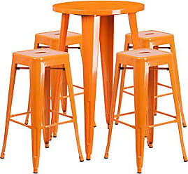 Flash Furniture 24 Round Orange Metal Indoor-Outdoor Bar Table Set with 4 Square Seat Backless Stools