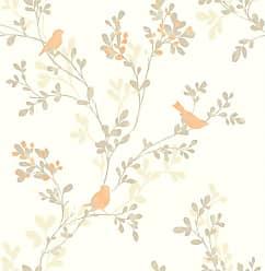 Brewster Home Fashions Chirp Orange Birds & Trees Wallpaper - 2704-41263SW