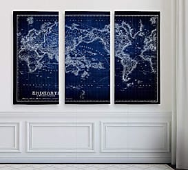 WEXFORD HOME Vintage World Map IV Blue 3 Panel Gallery Wrapped Canvas Wall Art, 24x36, Multicolor