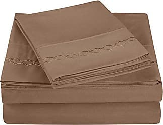 Superior Super Soft Light Weight, 100% Brushed Microfiber, King, Wrinkle Resistant, 4-Piece Sheet Set, Taupe with Cloud Embroidery