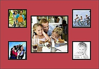 Art to Frames Art to Frames Double-Multimat-67-762/89-FRBW26079 Collage Photo Frame Double Mat with 1 - 10x10 and 4 - 5x5 Openings and Satin Black Frame