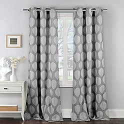 Duck River Textile Zaria Floral Leaf Print Linen Textured Grommet Top Window Curtains for Living Room & Bedroom - Assorted Colors - Set of 2 Panels (38 X 84 Inch - Grey)