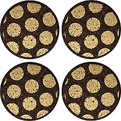 Thirstystone N542 Dark Cork Coasters with Gold Dots (Set of 4), Multicolor
