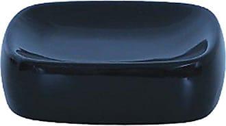 /Portasapone Ceramica Acciaio Inossidabile//Gres Nero Opaco 13,5/x 9/x 3,5/cm MSV 140749/Ndali/