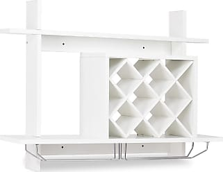 Costway Wall Mount Wine Rack w/ Glass Holder & Storage Shelf