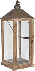 Gris Bois de Sapin 28 x 28 x 75 cm MICA Decorations 352708 Lanterne