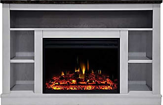 Cambridge Silversmiths Seville Heater with 47-in. White TV Stand, Enhanced Log Display, Multi-Color Flames, and Remote Control, CAM5021-1WHTLG3 Electric Fireplace