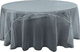 LA Linen Sheer Mirror Organza Round Tablecloth 108-Inch, Navy Blue, 108