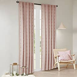 Urban Habitat Brooklyn 100% Cotton Jacquard Pom Rod Pocket Back Tab Window Curtain Panel Drape for Living Room Bedroom and Dorm, 42 W x 63 L, Pink