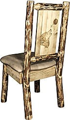 Montana Woodworks Montana Wooodworks Glacier Country Collection Side Dining Chair, Buckskin Upholstery, with Laser Engraved Wolf Design