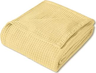Sweet Home Collection 100% Fine Cotton Blanket Luxurious Basket Weave Stylish Design Soft and Comfortable All Season Warmth, Full/Queen, Lemon