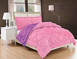 Elegant Comfort All Season Comforter and Year Round Medium Weight Super Soft Down Alternative Reversible 3-Piece Comforter Set, King, Pink/Purple