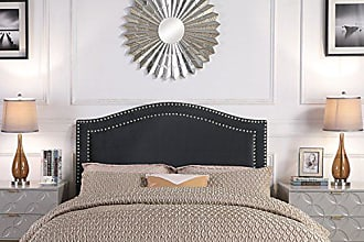 Iconic Home FHB9053-AN Tal. Headboard Velvet Upholstered Double Row Silver Nailhead Trim Modern Transitional Full/, Queen, Black