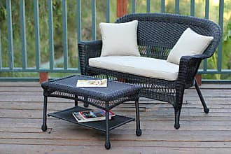 Jeco W00207-LCS006 Wicker Patio Love Seat and Coffee Table Set with Tan Cushion, Black