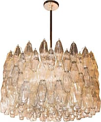 VENINI Modernist Handblown Murano Glass Polyhedral Drum Chandelier With Nickel Fittings