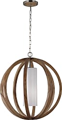 Feiss Allier 1 Bulb Light Wood / Brushed Steel Chandelier
