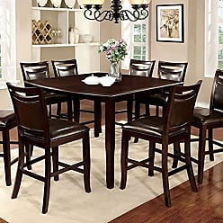 FURNITURE OF AMERICA 24/7 Shop at Home 247SHOPATHOME IDF-3024PT-9PC Dining-Room-Sets, 9-Piece, Brown