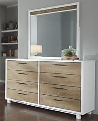 Ashley Furniture Gardomi Dresser and Mirror, White/Light Brown