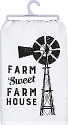 Primitives By Kathy Black and White Cotton Dish Towel, Sweet Farm House