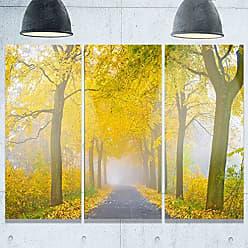 DESIGN ART Designart MT9814-3P Misty Road in Yellow Autumn Forest Landscape Photo Metal Wall Art (3 Panels), 28 H x 36 W x 1 D 3P