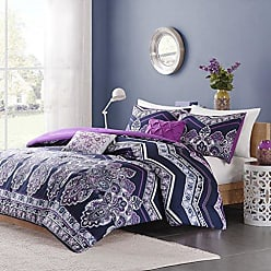 INTELLIGENT DESIGN ID10-471 Comforter Set, Full/Queen, Purple