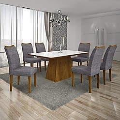 Leifer Conjunto Sala de Jantar Mesa Tampo MDF/Vidro Branco 6 Cadeiras Pampulha Leifer Canela/Linho Cinza