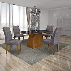 Leifer Conjunto Sala de Jantar Mesa Tampo MDF/Vidro Preto 4 Cadeiras Pampulha Leifer Imbuia Mel/Linho Cinza