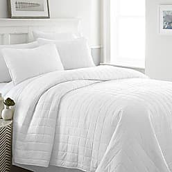 iEnjoy Home Becky Cameron Quilted Coverlet Set Square Patterned, King, White