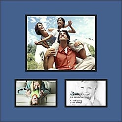 Art to Frames Collage Photo Frame Double Mat with 1-8x10 and 2-4x6 Openings with Satin Black Frame and Royal mat