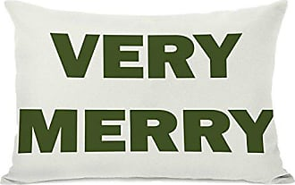 One Bella Casa Very Merry Reversible Throw Pillow Cover by OBC, 14x 20, Ivory/Green