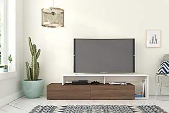 Nexera 112040 Tonik, Walnut & White 72-inch TV Stand, Walnut Melamine and White Melamine