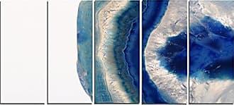 DESIGN ART Designart PT14371-60-28-5PE Macro of Blue Agate Stone-Abstract Canvas Wall Art Print, 28 H x 60 W x 1 D 5PE