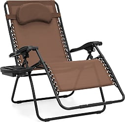 Best Choice Products Oversized Folding Zero Gravity Outdoor Reclining Lounge Patio Chair w/ Cup Holder - Brown