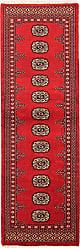 Nain Trading Handknotted Pakistan Buchara 2ply Rug 63x21 Runner Dark Brown/Red (Wool, Pakistan)