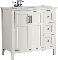Simpli Home Winston 36 inch Rounded Front Bath Vanity in Off White with Bombay White Engineered Quartz Marble Top