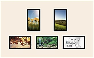 Art to Frames Art to Frames Double-Multimat-994-824/89-FRBW26079 Collage Photo Frame Double Mat with 5 - 3x5 Openings and Satin Black Frame