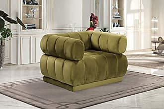 Iconic Home FCC9239-AN Quebec Club Chair Velvet Upholstered Vertical Channel-Quilted Tufted Shelter Arm Design Modern Contemporary Green
