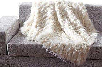 Ben&Jonah Ben & Jonah Beige Eyelash Heavy Faux Fur Throw Blanket (50 x 60)
