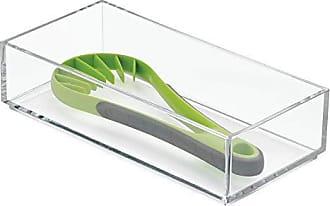 InterDesign Clarity Plastic Drawer Organizer, Utensil Storage Container for Kitchen Cabinets, Vanity, Bathroom, 4 x 8 x 2, Clear