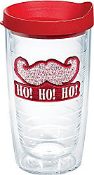 Trevis Tervis 1140767 Santa Confetti Mustache Tumbler with Emblem and Red Lid 16oz, Clear